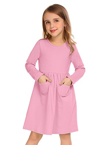 Arshiner Little Girls Long Sleeve Solid Color Casual Skater Dress Pale Violet Red 100(Age for 3-4)