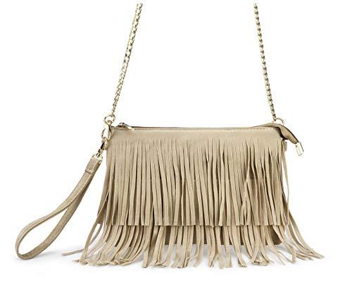 Womens Shoulder Bag Cross Fringe Wristlet Small Bag Body Top Hoxis Zip Khaki 46yaIwYq4