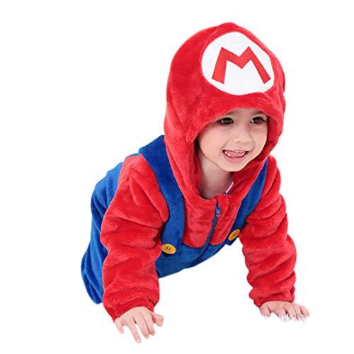 (Baby Romper Flannel Animal Onesie Pajamas Jumpsuit Cosplay Coustumes (Red, 0-5)