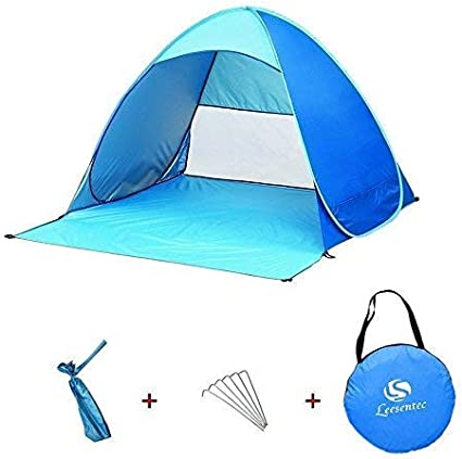 Leesentec UPF 50+ Easy pop up Beach Tent Portable Sun Shade Sport Shelter Camping Shelter Beach Umbrella for Outdoors with Carry Bag