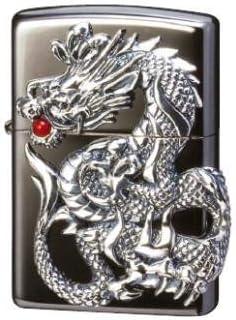 迫力あるドラゴンモチーフのZIPPO ZIPPO ドラゴンメタル 黒ニッケルミラー 〈簡易梱包