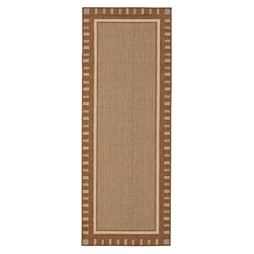 Ottomanson JRD8838-3X7 Jardin Collection Contemporary Bordered Design Indoor/Outdoor Jute Backing Runner Rug, 2'7