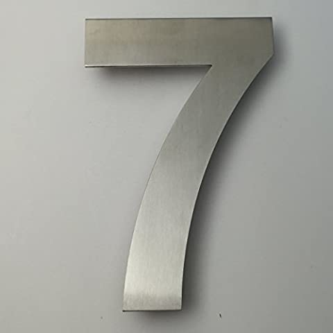 KIONA Modern Address Number Seven (7) - 6 inch - Brushed Stainless Steel (Steel House Numbers)