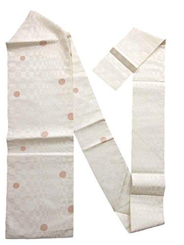 くしゃみ堤防損なうリサイクル 名古屋帯 水玉模様 白 ピンク 正絹