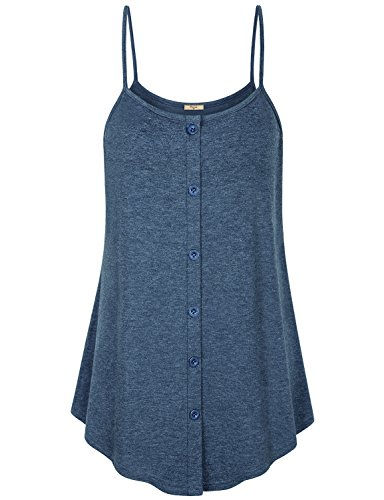 Cestyle Camisoles,Womens Leisure Wear Girls Modest Space Dye Buttons Embellished Tank Tops Holiday Casual Dressy Sleeveless Straps Tunic Cami Shirts Blue XXL by Cestyle