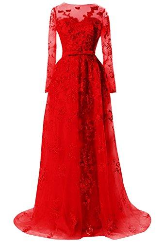 rmel Abendkleider Prom Bess Lange Rot Brauen Spitzen Schiere ll Formale T Frauen xa0xq7