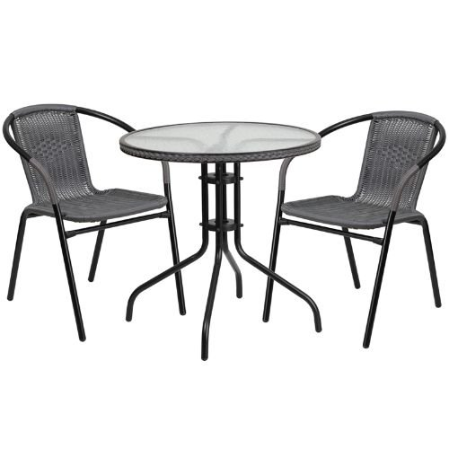 Flash Furniture 28'' Round Glass Metal Table with Gray Rattan Edging and 2 Gray Rattan Stack Chairs (Patio Cafe Table Chairs And)