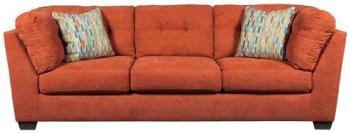 Benchcraft Delta City Stationary Sofa in Rust
