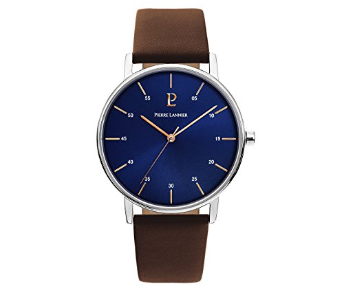 Men's Watch Pierre Lannier - 202J164 - ELEGANCE CITYLINE - Navy Blue Dial - Brown Leather Strap