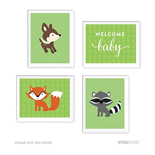 Price comparison product image Andaz Press Woodland Forest Baby Shower Collection,  Party Signs,  Graphic Decorations,  8.5x11-inch,  4-Pack