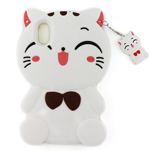 Anya 3D Cute Lovely Cartoon Animal Series Style Lucky Fortune Plutus Cat Soft Rubber & Silicone Shell Case Cover for iPhone X White