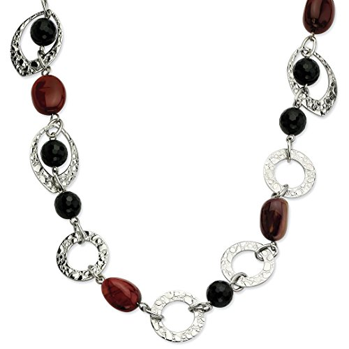 ICE CARATS Stainless Steel Textured Ovals Black Onyx Ocean Stone Chain Necklace Pendant Charm Gemstone Fashion Jewelry For Women Gift Set from ICE CARATS