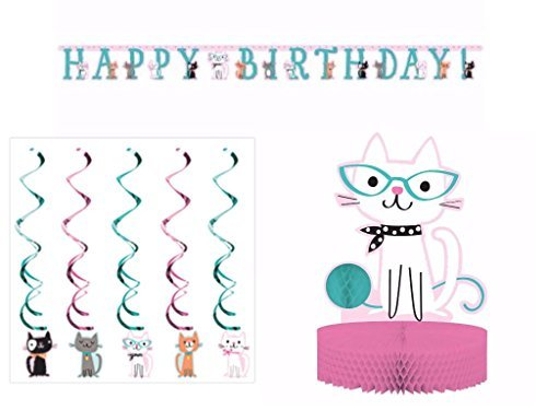 Purr-fect Cat Party Supplies Decoration Pack Including Centerpiece, Banner & Dizzy Danglers]()