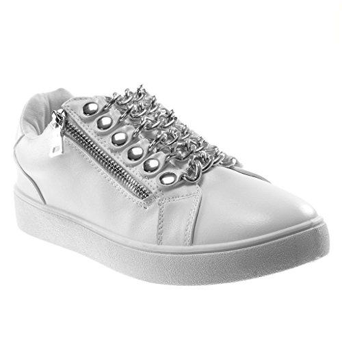 Chaussures Mode Des Femmes Angkorly Formateurs - Tennis - Sport Chic - Chaînes - Clouté - Talon Plat Métallique 3 Cm Blanc