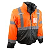 Radians SJ210B-3ZOS-XL Three-In-One Deluxe Hi-Viz Bomber Jacket, X-Large, Hi-Viz Orange