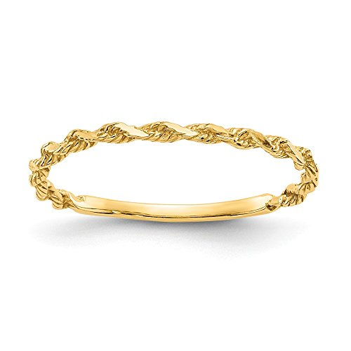 14k Yellow Gold Textured Rope Wedding Ring Band Size 6.00 Fine Jewelry Gifts For Women For Her