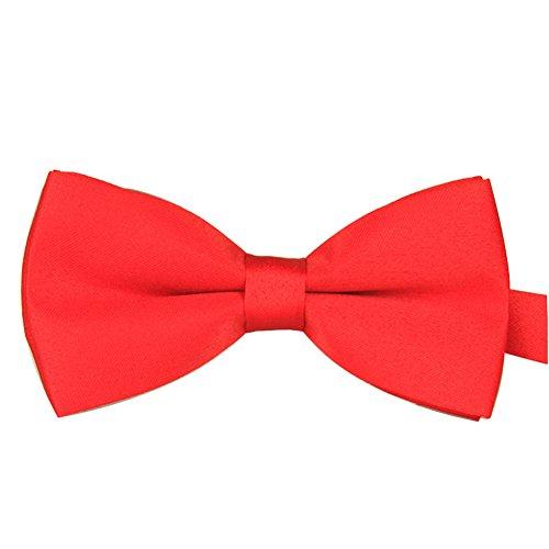 Ainow Mens Fashion Solid Color Tuxedo Pre-tied Adjustable Bow Tie Bowtie (Watermelon Red) (Watermelon Bow Tie)
