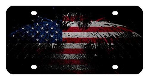 - L169 AMERICAN FLAG EAGLE License Plate Front Custom Novelty Tag Vanity Frame Holder Wrap Wraps