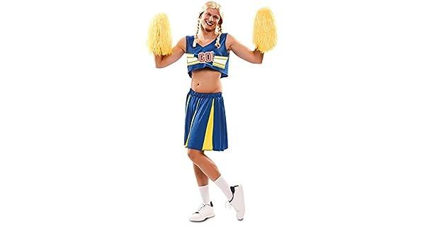 Disfraz de Animadora Azul y Amarilla para hombre: Amazon.es ...