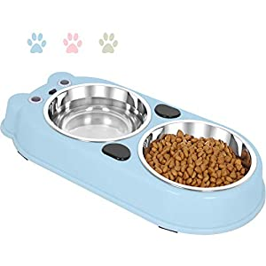 Upsky Double Dog Cat Bowls Double Premium Stainless Steel Pet Bowls with Cute Modeling Pet Food Water Feeder 28
