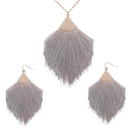 Bohemian Statement Tassel Long Chain Necklace and Dangle Earring - Strand Fringe Fan Shape Charm Jewelry Set for Women and Girls (grey tassel set)