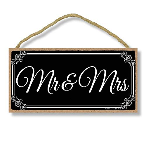 - Mr. and Mrs. - Newlywed Just Married 5 x 10 inch Hanging, Wall Art, Decorative Wood Sign Home Decor