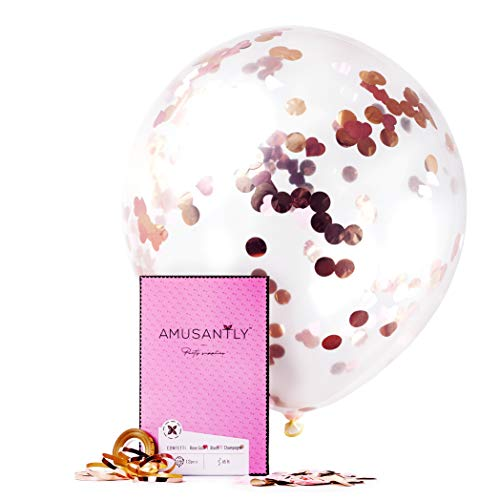 AMUSANTLY Rose Gold Confetti Balloons - 12 Unique 18