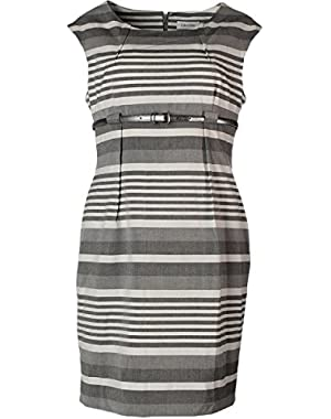Calvin Klein Women's Gray Petite Sleeveless Striped Belted Sheath 10P