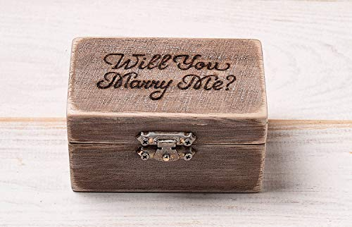 Small Engagement Ring Box, Simple Ring Bearer Pillow, Wooden Personalized Rustic Box with Burlap Pillow, Proposal Ring Holder, Custom Gift, Wedding Bridal Gift