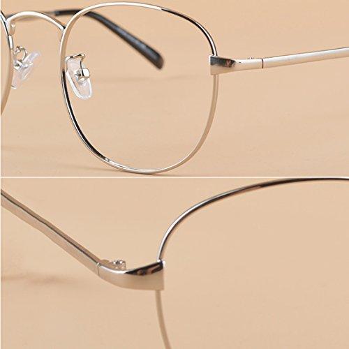 mujer y moda Gafas de Gafas De la metal Hombre 600 a 50 para Plata Aiweijia Marco completoCircular miopía BwzqxgEU5