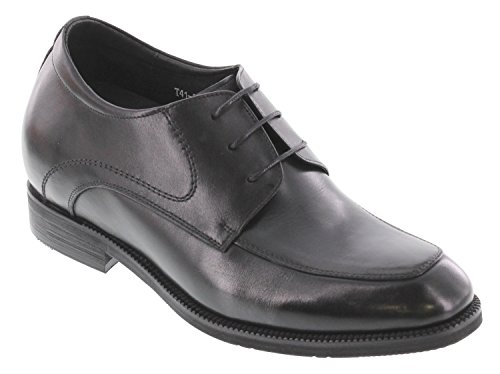 CALTO T4101-3 inches Taller - height Increasing Elevator Shoes - Black Lace-up Formal Dress Shoes