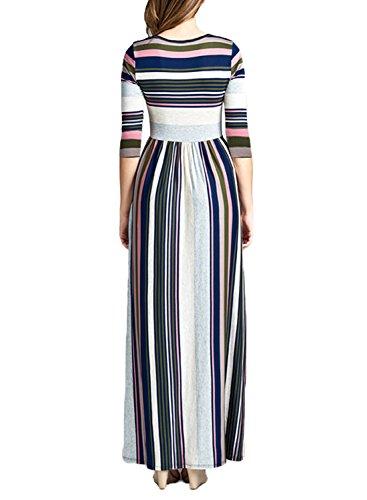 Hotapei Courte À Manches Longues Robe Décontractée Rayé Lâche D'été Féminin Poche Maxi Robe Z-3 4 Manches Rose Blanc Rayé Bleu