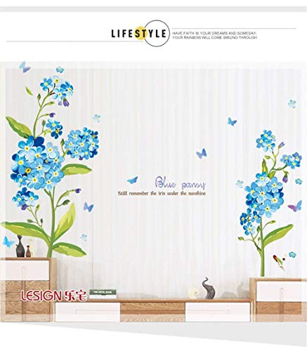 Sevenpring Home Decor Craft Gift The Sofa in The Living Room TV Background self Adhesive Wall Sticker Romantic Marriage Room Bedroom Bed Wall Decoration Flower ()