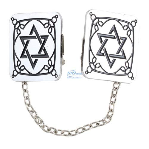 (SNSArts & Judaica Beautiful Nickel Tallit Clips Star of David 33cm with Chain, Min Qty Order 2 - The Price is for 2)