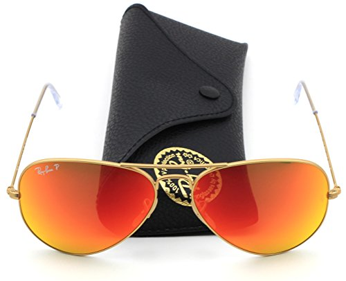 Ray-Ban RB3025 112/4D Matte Gold Brown / Red Polarised Mirror Lens - Polarised Sunglasses Ray Ban