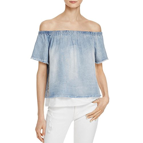 - Generation Love Womens Brenda Layered Frayed Casual Top Blue L