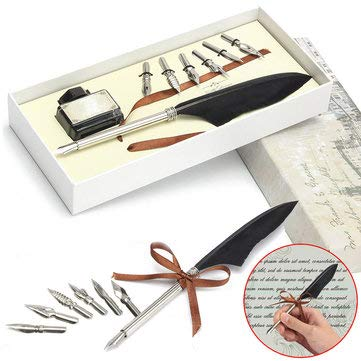 - Antique Goose Feather Quill Wedding Signing Pen & Ink with 6 Nibs Set Gift Box - Stationery Supplies Pens & Writing Supplies -