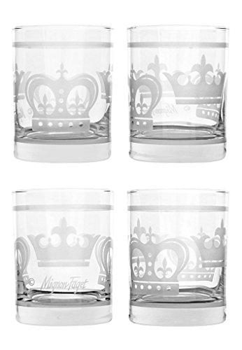 Mignon Faget Crown Double Old Fashioned Glasses, Set of 4 ()