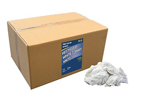 Pro-Clean Basics White Recycled T-Shirt Cloth Rags:  25 lb. Bag