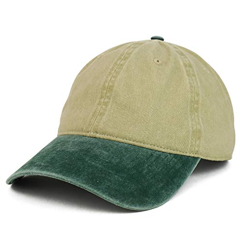 - Armycrew XXL Oversize Big Washed Cotton Pigment Dyed Unstructured Baseball Cap - Khaki Green