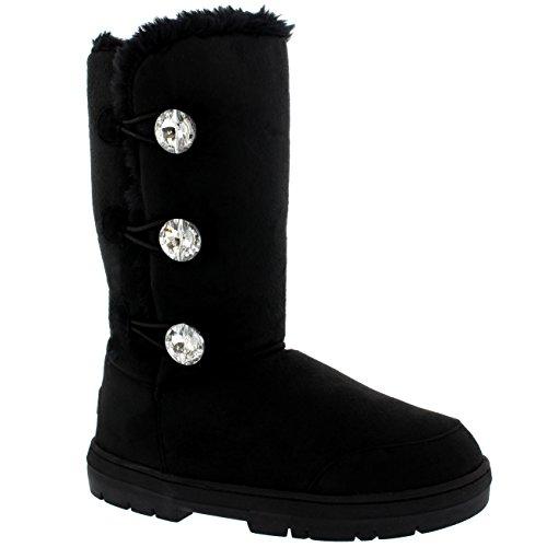 Mujer Triplet Diamond Button Tall Fur Impermeable Invierno Rain Nieve Botas Negro