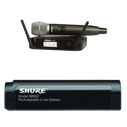 Shure GLXD24/B87A Digital Vocal Wireless System with Beta 87A Handheld Microphone, Z2 With Shure SB902 Rechargeable Lithium-Ion Battery for GLX-D Bundle