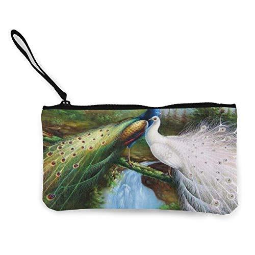 Wristlet Clutch Wallet Cute Peacock Art Painting Canvas Coin Purse Handbag