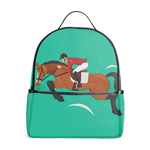 Show Jumping Horse With Jockey Equestrian Backpack for Girls with Multi-Pockets | School Bookbag Daypack Travel Bag ()