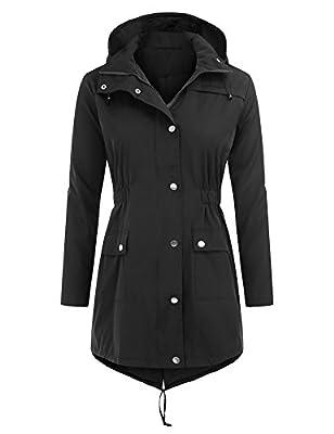 Uniboutique Waterproof Lightweight Hooded Rain Jacket Outdoor Active Raincoats Women's Windbreaker Jackets
