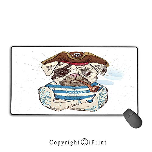 Extended gaming mouse pad with stitched edges,Pug,Pirate Pug Conqueror of the Seas Pipe Skulls and Bones Hat Striped Sleeveless T Shirt Decorative,Brown Blue,Suitable for laptops, computers, PCs, keyb