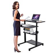 Ejoyous 4 Tiers Rolling Laptop Desk with Wheels, Mobile Height Adjustable Standing Computer Desk, Rolling Computer Laptop Table Workstation Presentation Cart on Wheels for Home Office-Black