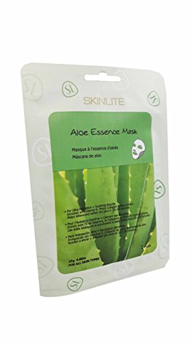 2 Mask Sheets of Skinlite Aloe Essence Mask, for Ultra Hydration + Soothing Results. Enriched with Vitamin E, Phyto Collagen & Aloe Extract., for All Skin Types. (23 G./ 1 Mask/ 1 Pack)