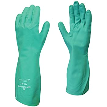 """5 x Pairs Of Showa 772 ARX Nitrile 24/"""" Long Sleeve Gauntlets For Entire Arm"""