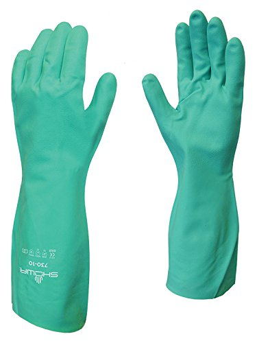 SHOWA 730 Nitrile Cotton Flock-lined Chemical Resistant Glove, Large (Pack of 12 Pairs) - Fingertip Coated Gloves